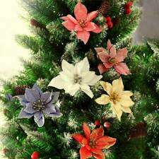 10Pcs Glitter Poinsettia Flower Christmas Wreath Tree Decorations Xmas Gift 13cm