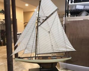 """America's Cup 1910 Model Hollow Wood Pond Yacht ship display sailboat-48""""x46"""""""