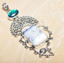 "Handmade Dendritic Tree Natural Agate 925 Sterling Silver Pendant 4"" #P15507"