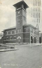 Bangor Pennsylvania~City Hall~Clock Tower~1916 B&W Postcard