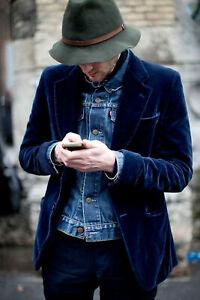 Men Navy Blue Smoking Jacket Designer Wedding Groom Dinner Party Blazer Coat UK