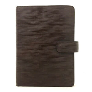 Authentic Louis Vuitton Epi Agenda MM Brown Leather Notebook Cover /60586