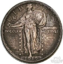 1919 Standing Liberty Quarter 25c US Silver Coin 19084