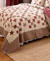 NOSTALGIA RED STAR 60x60 QUILT THROW : NINE PATCH PLAID FARMHOUSE CABIN BLANKET