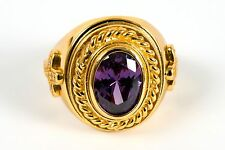 Mens Bishop Clergy Ring (SUBS360 G-P), Oval Purple Stone, Gold Plated/Sterling S