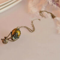 Colorful Enamel Glazed Hot Air Balloon Silk Bowknot Pendant Chain Necklace