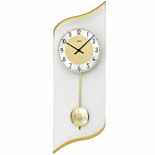 Ams 7437 Cuarzo de Reloj Pared con Péndulo Dorado Aluminio y Cristal