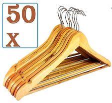 50 x Wooden Hangers Coat Suit Garment Clothes Wardrobe Wood Hanger Trouser Bar