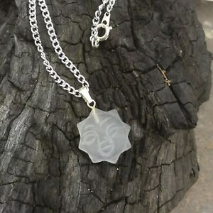 Hand carved frosted rock crystal sun pendant necklace with chain Gemstone sun