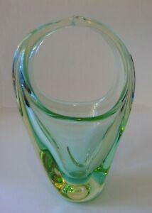 Vintage CZECH Green Art Glass BASKET ZBS Zelezny Brod Sklo