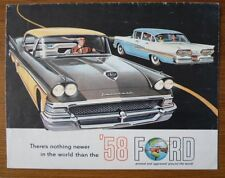 FORD orig 1958 USA Mkt Sales Brochure - Custom 300 Fairlane Sunliner Thunderbird