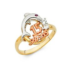 Dolphin 15 Anos Ring Solid 14k Yellow White Rose Gold Quinceanera Band CZ Fancy