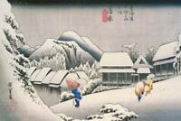 Utagawa Hiroshige Evening Snow At Kanbara Art Print Poster 24x36 inch