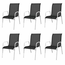 vidaXL 6x Outdoor Dining Chairs Black Stackable Garden Patio Furniture Seat