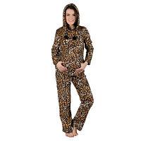 Ladies Brown Leopard Print Hooded Fleece Pyjama Set PJs Top & Bottoms Nightwear