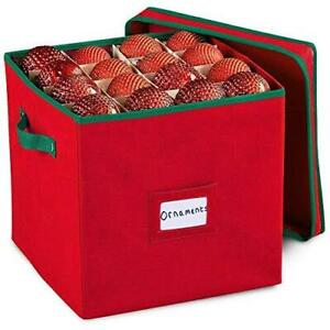 Durable Non-Woven Christmas Ornament Storage Box with Removable lid, Stores