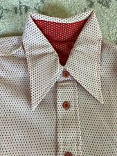 Vintage Mens Shirt Size M Geometric Print Rockabilly Long Collar Pink / Red