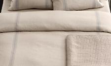 """Restoration Hardware Belgian Linen Provence Stripe Duvet Cover KING 106"""" x 92"""""""