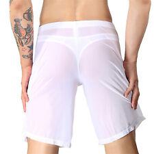 Mens Lounge Boxers Shorts Half Pants Loose Trunks Sheer Sexy Sleepwear Underpant