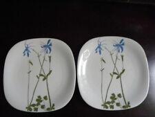 "2 Block FLORAL PORTRAITS Switzerland Salad/ luncheon plates ""Columbine"""