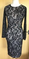 Pied A Terre Ladies Dress 12 Black Lace Stretchy Party Evening Cocktail EUC