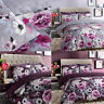 Inky Floral Reversible Duvet Cover and Pillowcases Bedding Set