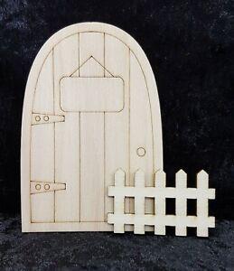 Fairy Garden Accessories - (A) Fariy Door & Fence Unpainted Ready to Paint