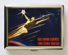 Soviet space propaganda Cigarette Case Wallet Business Card USSR hammer sickle