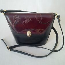 EMBOSSED EQUESTRIAN LEATHER SHOULDER BAG - BLACK - MADE IN ITALY