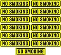 """LOT OF 13 GLOSSY STICKERS, """"NO SMOKING"""", FOR INDOOR OR OUTDOOR USE"""