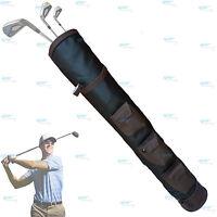 Black Brown Rx F Leather Golf Club Ball Bag Three Pockets H-34inch D-5.5inch NEW