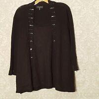 Elementz Women's Plus Size 3X Black Embellished Sequin Sweater Top Mock Cami