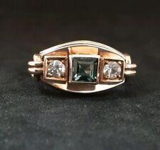 Fabulous ART NOUVEAU / JUGENDSTIL - Green & Clear Paste 8k Gold Ring - Size R