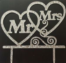MR & MRS WEDDING CAKE TOPPER-AND-LARGE SILVER GLITTERY ACRYLIC SIGN-16X14CM-NEW