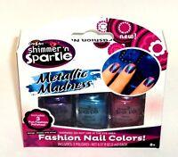CrazArt Shimmer 'n Sparkle METALLIC MADNESS 3 Fun Fashion Shades NIB