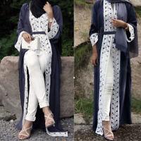 Ladies Muslim Dubai Style Open Front Abaya Cardigan Islam Robe Kaftan Maxi Dress