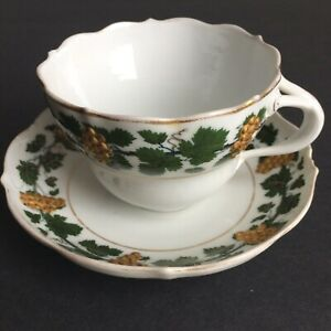 Antique Meissen Porcelain Cup Saucer Full Green Vine Gold Grapes Davis Collamore