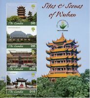 Gambia 2019 MNH Sites & Scenes Wuhan 4v M/S Temples Tourism Architecture Stamps