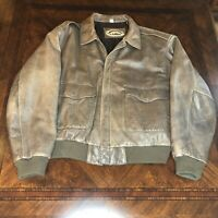 The Orvis Company Fly Fishing Schools Leather Jacket Size XL Bomber Jacket