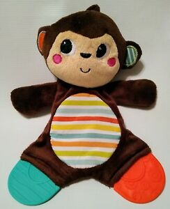 """Bright Starts Monkey Teether Lovey Baby Toy Brown Striped Crinkle Tummy 9"""""""