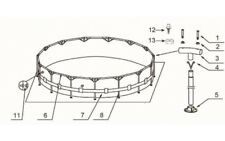 Verbindungs Rohre(Komlett Set ) Für Intex Pool Metal Frame 457 x 91  cm 10-00042