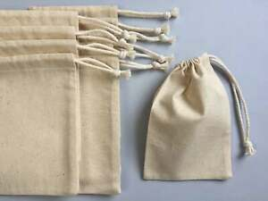 3x4 Inches Reusable Single Drawstring Organic Cotton Muslin Bags (Pack of 100)