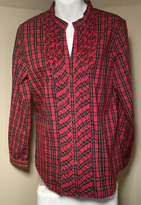 Orvis Women Carefree Red Black LongSleeve Blouse 10 Plaid Ruffle Covered Buttons