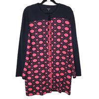 Misook Pink Navy Blue Hook Eye Closure Cardigan Sweater Long Size Medium
