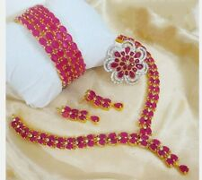 Pakistani Indian Bollywood CZ AD Wedding Ruby Red Choker Bridal Necklace Set
