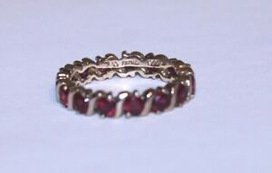 Ross Simons Sterling Gold Ruby Eternity Band Ring Size 7