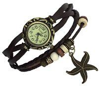 STARFISH Quartz Fashion Weave Wrap around Leather Bracelet Women Wrist Watch