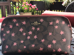 Coach Celestial dark brown with pink stars cosmetic case EUC