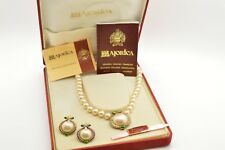 """Vintage 1994 Majorica Necklace Earrings Set Sterling Silver Pearls Boxed 17"""" WOW"""