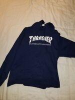 Thrasher Skateboard Magazine Hoodie Sweatshirt Navy Blue L Supreme Palace Bape